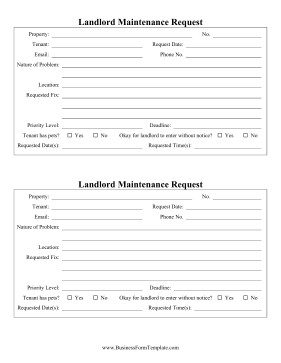 Maintenance Request form Template Landlord Maintenance Request Template