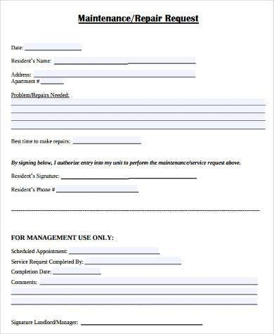 Maintenance Request form Template Maintenance Request form Samples 8 Free Documents In