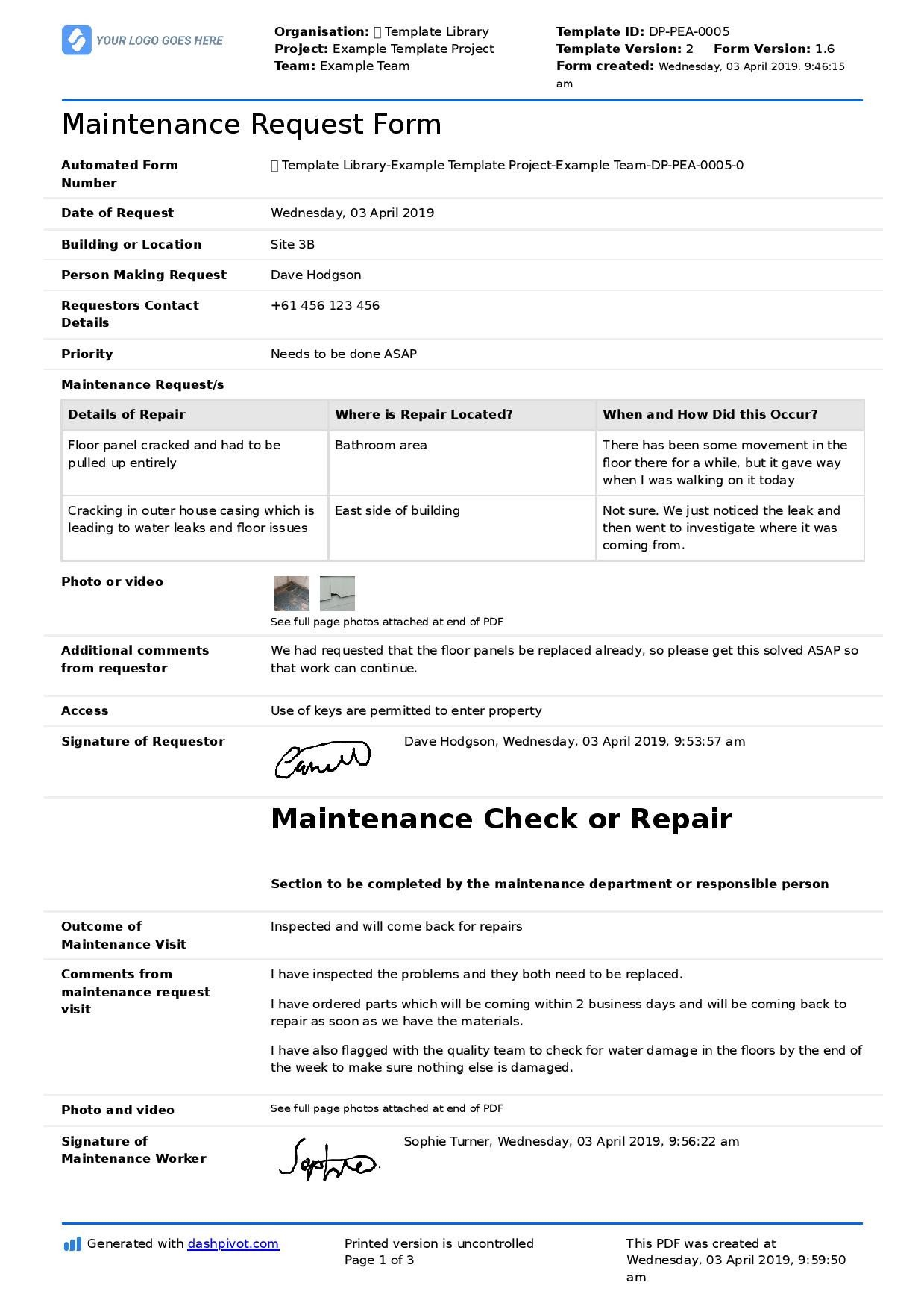 Maintenance Request form Template Maintenance Request form Template Better Than Pdf and Excel