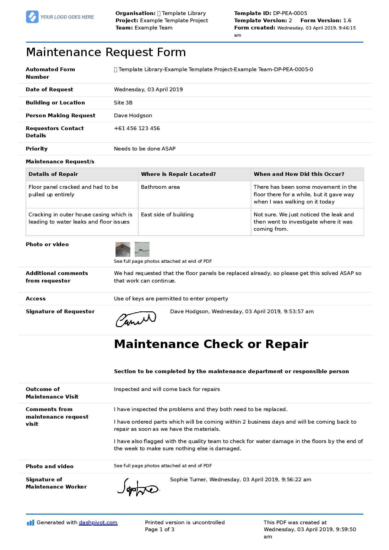 Maintenance Request form Template Maintenance Request form Template Better Than Pdf and Excel