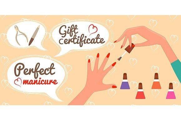 Mani Pedi Gift Certificate Template Gift Certificate Perfect Manicure Gift Voucher Design