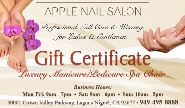 Mani Pedi Gift Certificate Template Luxury Manicure Pedicure Spa Chair Gift Certificate