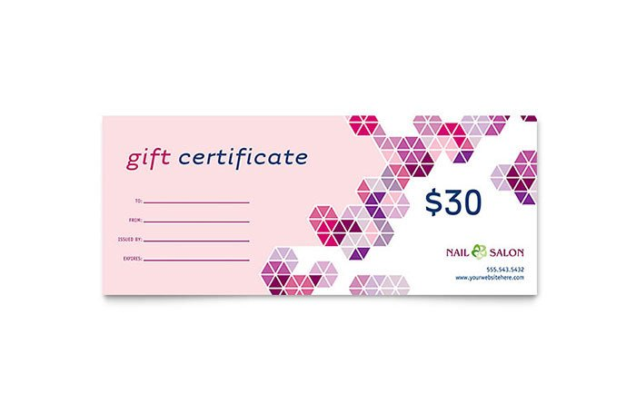 Mani Pedi Gift Certificate Template Nail Salon Gift Certificate Template Word & Publisher