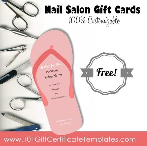 Mani Pedi Gift Certificate Template Nail Salon Gift Certificates Free Nail Salon Gift