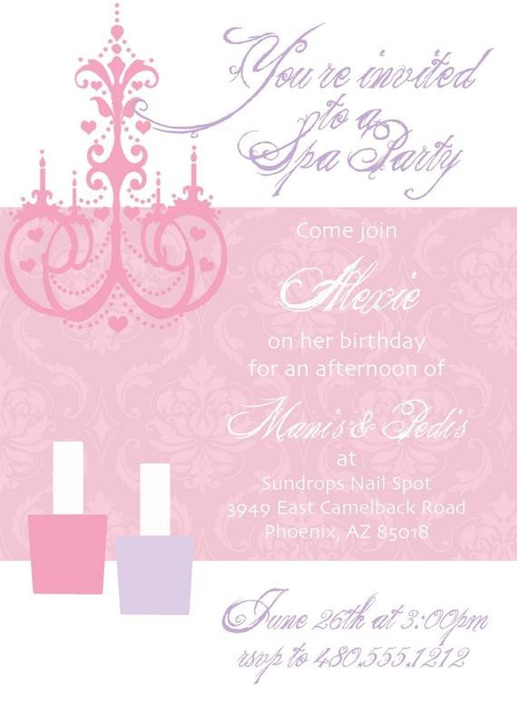 Mani Pedi Gift Certificate Template Printable Party Invitation Mani Pedi Spa Birthday