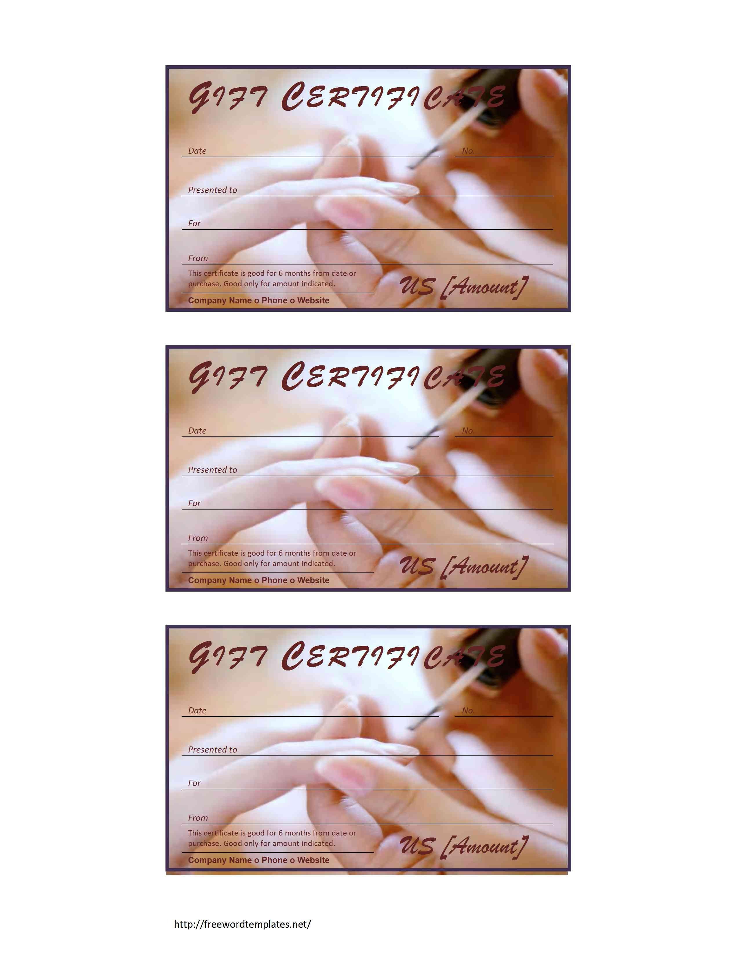 Mani Pedi Gift Certificate Template Tattoo Gift Certificate Template