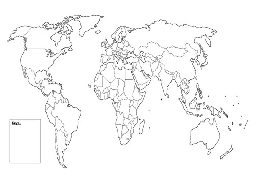 Map Key Template Blank World Map with Key by Queenpriscilla Teaching