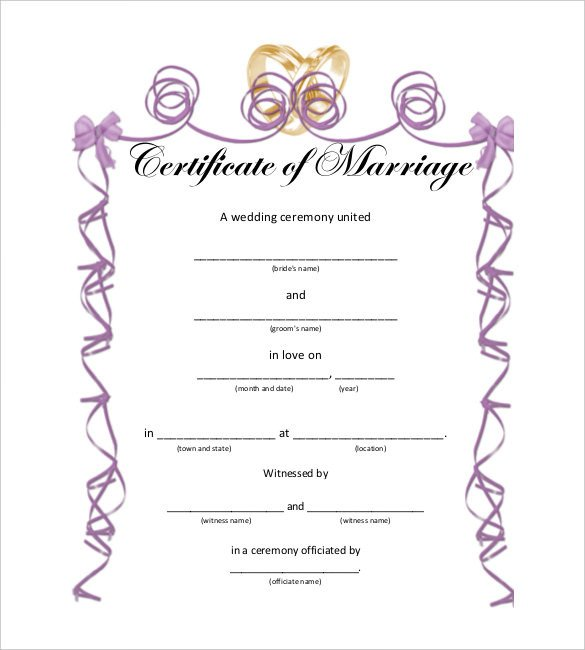 Marriage Certificate Template Microsoft Word 10 Marriage Certificate Templates