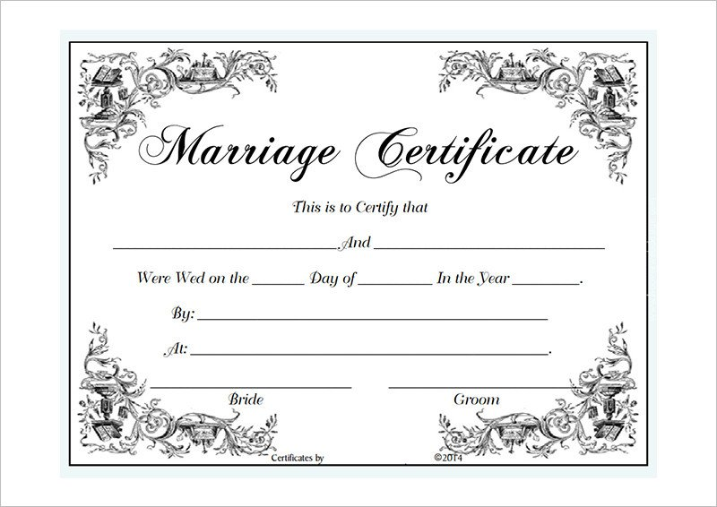 Marriage Certificate Template Microsoft Word Blank Certificate Template