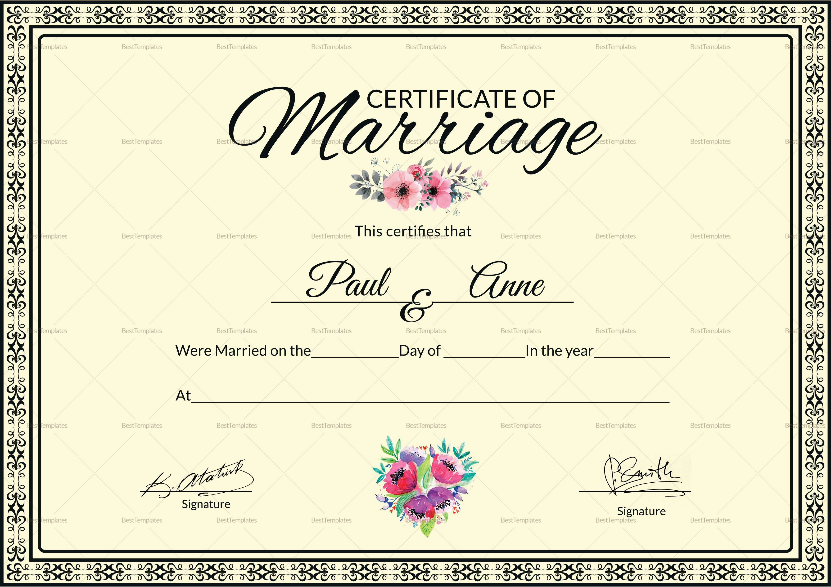 Marriage Certificate Template Microsoft Word Marriage Certificate Design Template In Psd Word