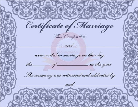 Marriage Certificate Template Microsoft Word Sample Marriage Certificate Template 18 Documents In