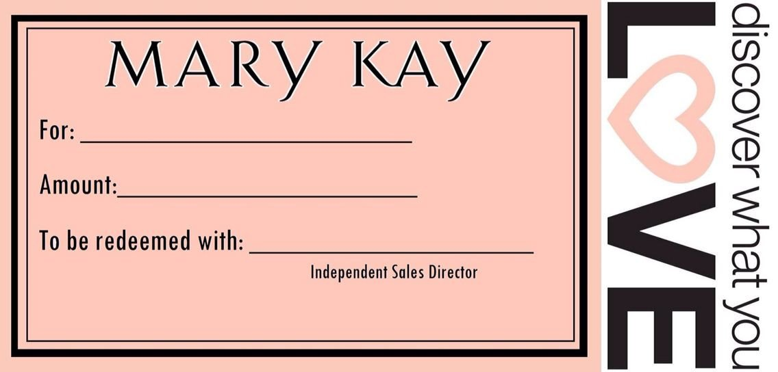 Gift Certificates Mary Kay Gift Certificate