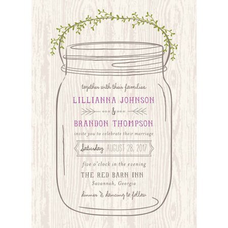 Mason Jar Standard Wedding Invitation Walmart