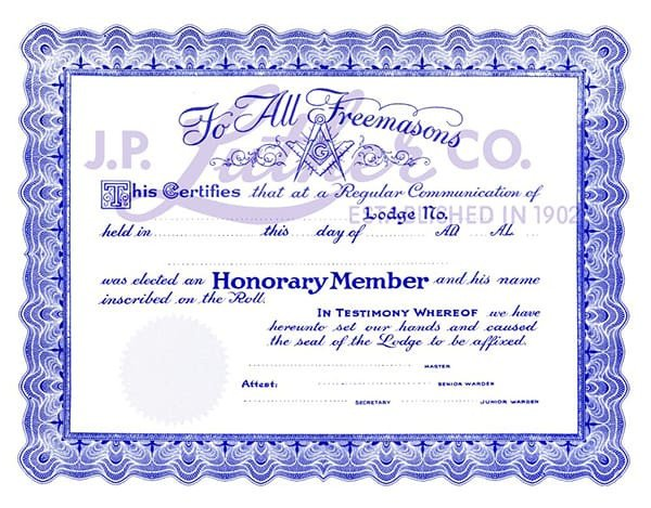 Free Honorary Masonic Membership Certificate Fossil Bluff