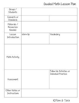 Math Lesson Plan Template Guided Math Lesson Plan Template by Pam Tara