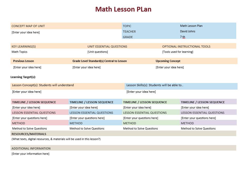 Math Lesson Plan Template Math Lesson Plan Template – Microsoft Word Templates