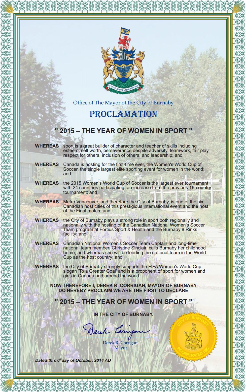 Mayoral Proclamation Template Declaration
