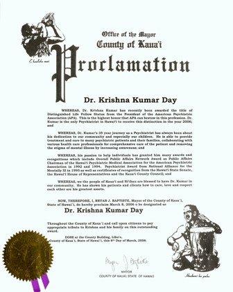 Mayoral Proclamation Template Dr Kumar Hawaii Psychiatrist Ime Psychology