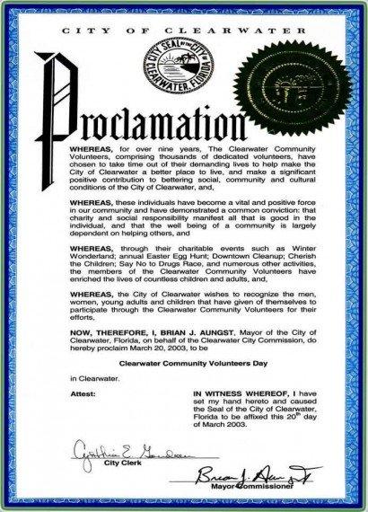 Mayoral Proclamation Template Mayor's Proclamation
