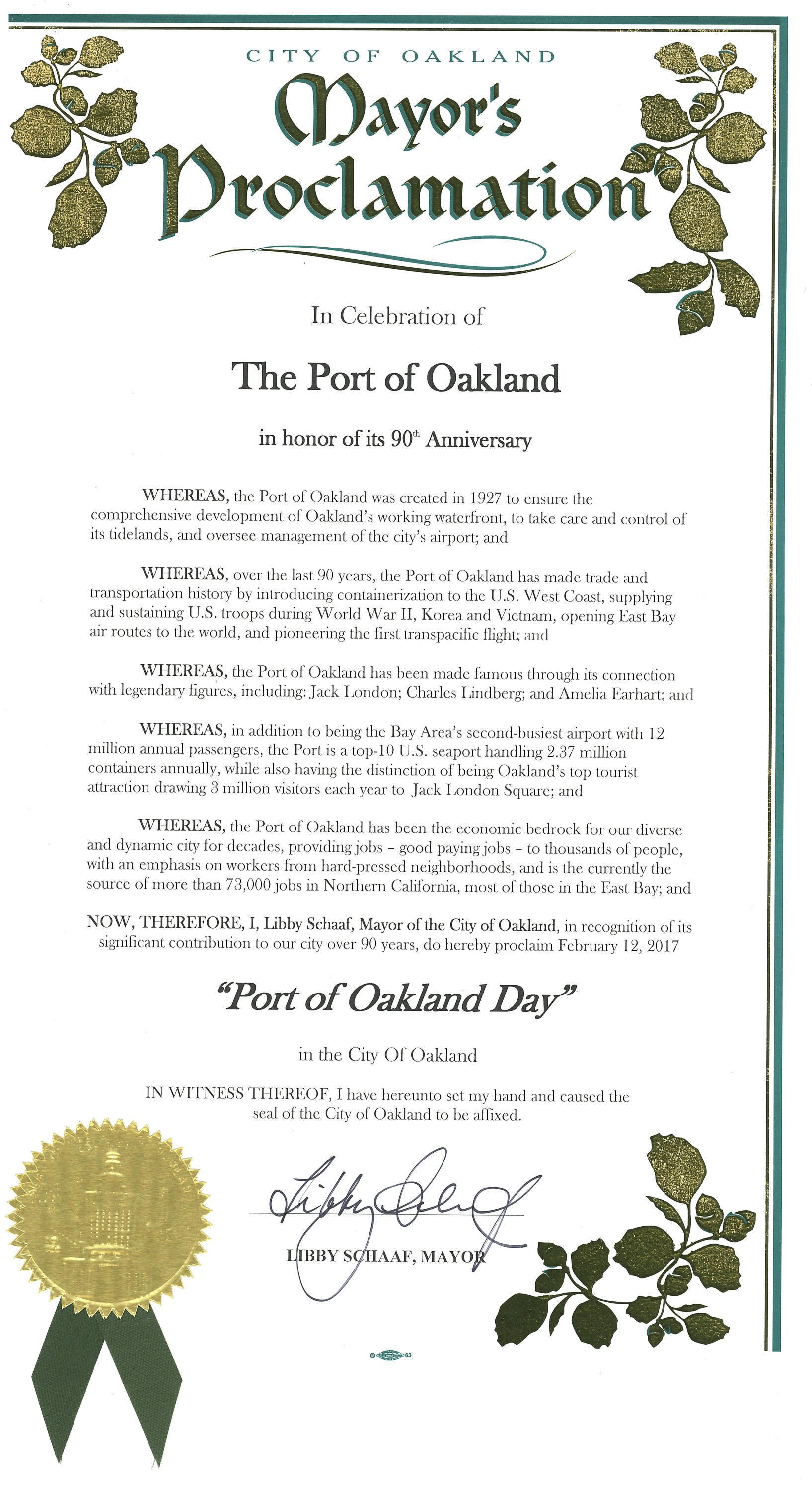 Mayoral Proclamation Template Proclamation by Oakland Mayor Libby Schaaf