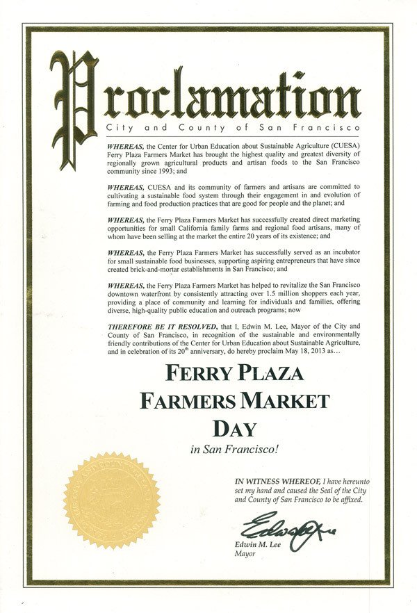 Mayoral Proclamation Template Proclamations Of Ferry Plaza Farmers Market Day