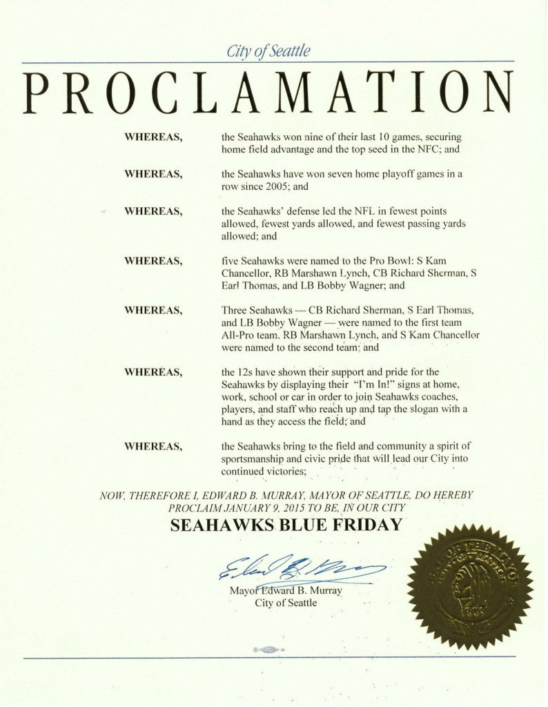 Mayoral Proclamation Template Seahawks Archives Mayor Murray