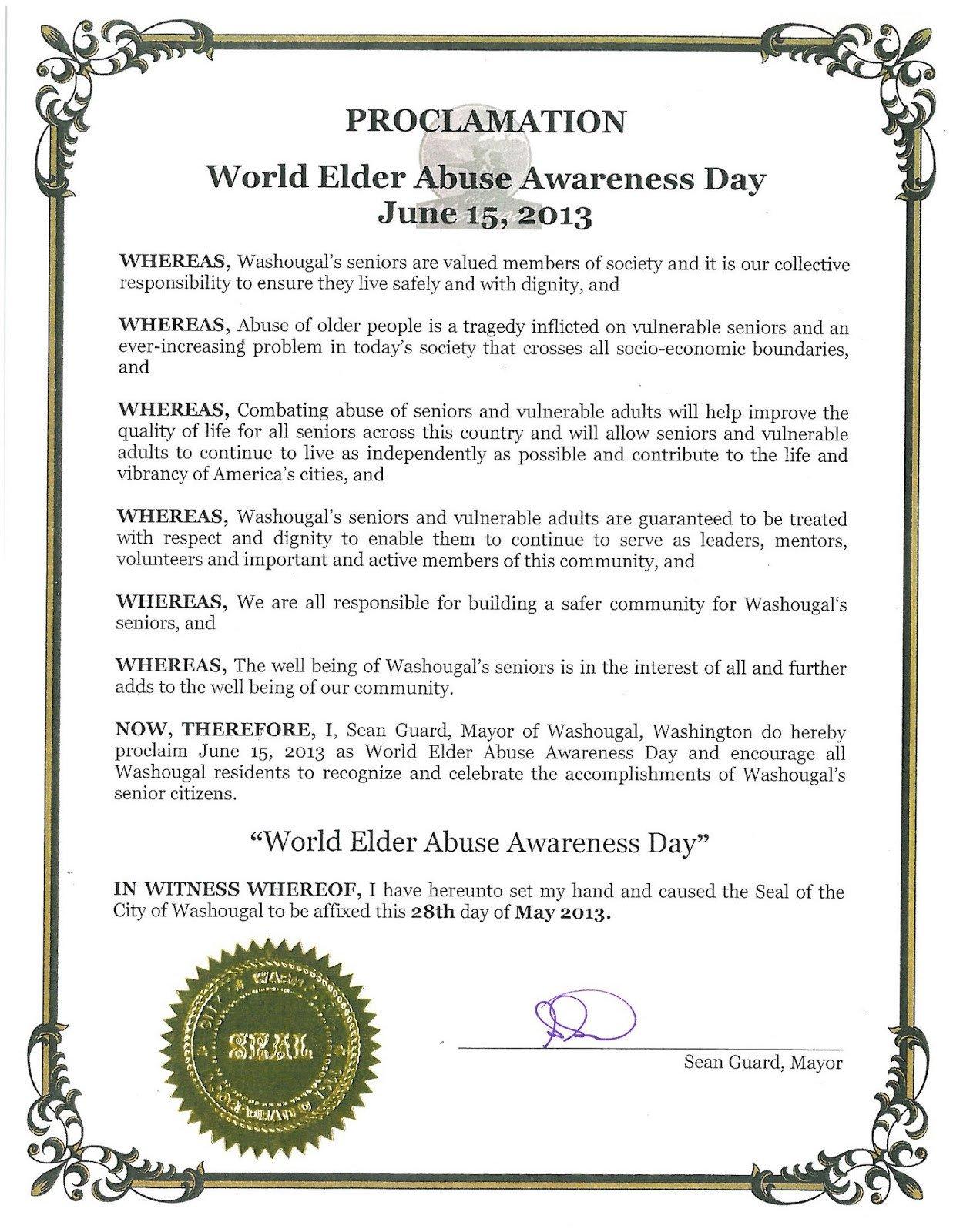Mayoral Proclamation Template Washougal Mayor S Blog World Elder Abuse Awareness Day