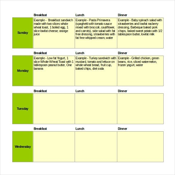 Meal Plan Excel Template 47 Menu Templates Free Excel Pdf Word Psd