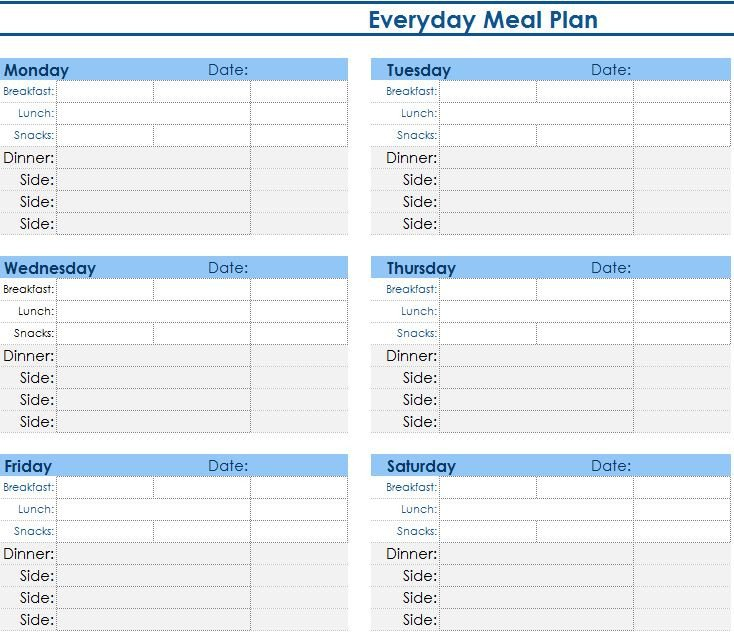 Meal Plan Excel Template Daily Meal Planner My Excel Templates