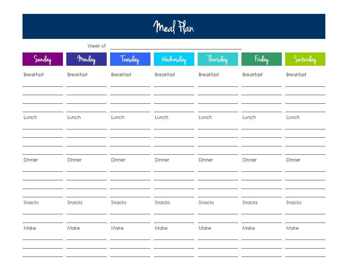 Meal Plan Excel Template Grocery List Template Excel