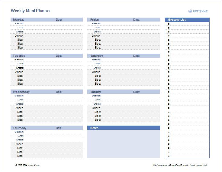Meal Plan Excel Template Meal Planner Weekly Menu Planner Template