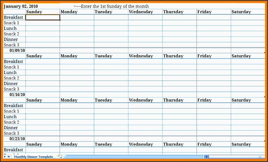 Meal Plan Excel Template Monthly Meal Plan Excel Template Archives