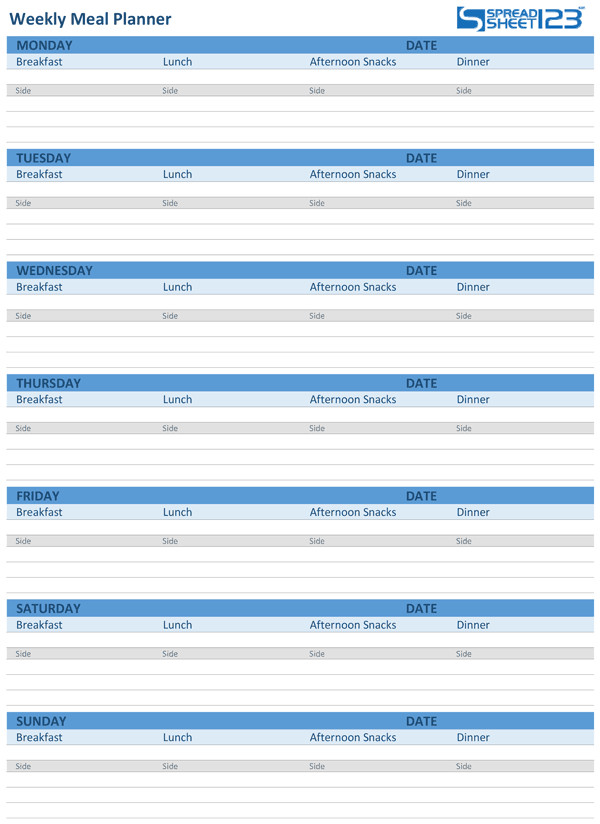 Meal Plan Excel Template Printable Meal Planner and Weekly Menu Planner Templates