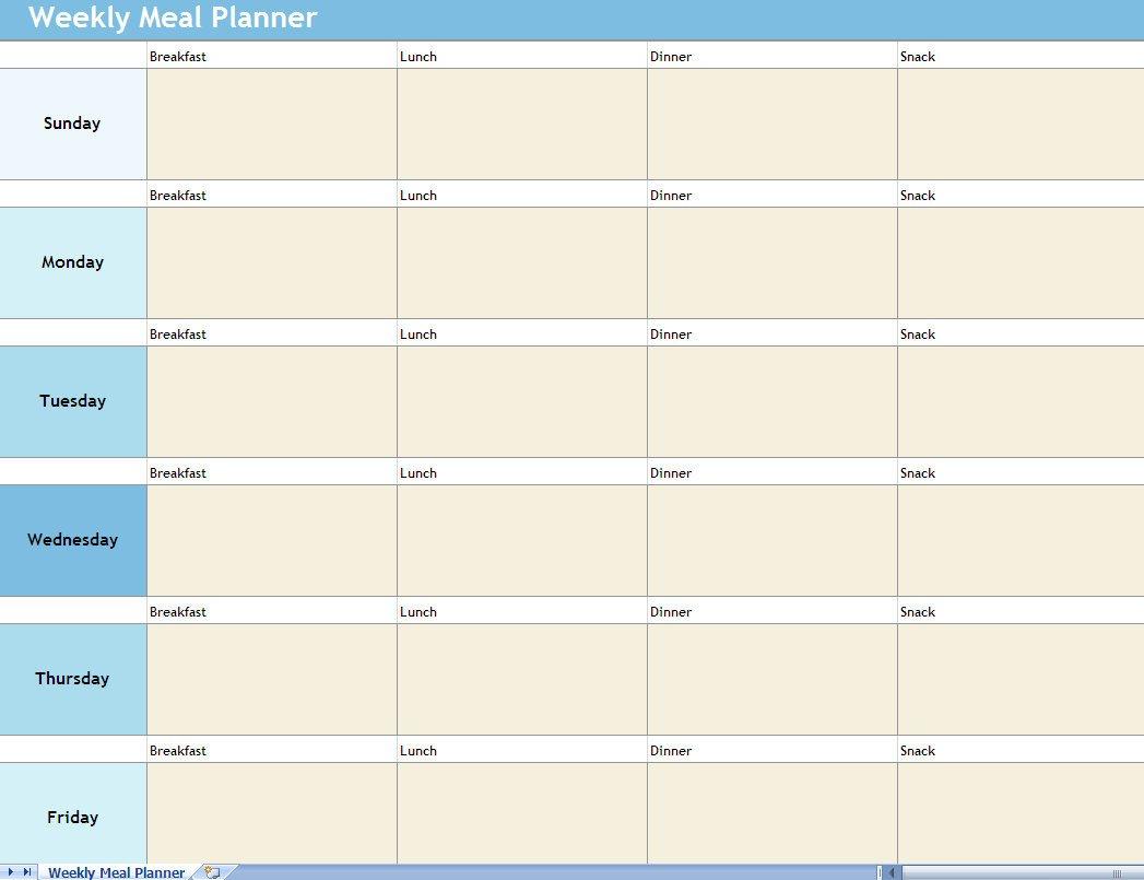Meal Plan Excel Template Weekly Meal Planner Excel Spreadsheet