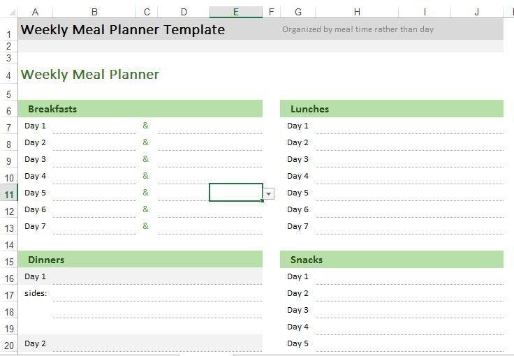 Meal Plan Excel Template Weekly Meal Planner