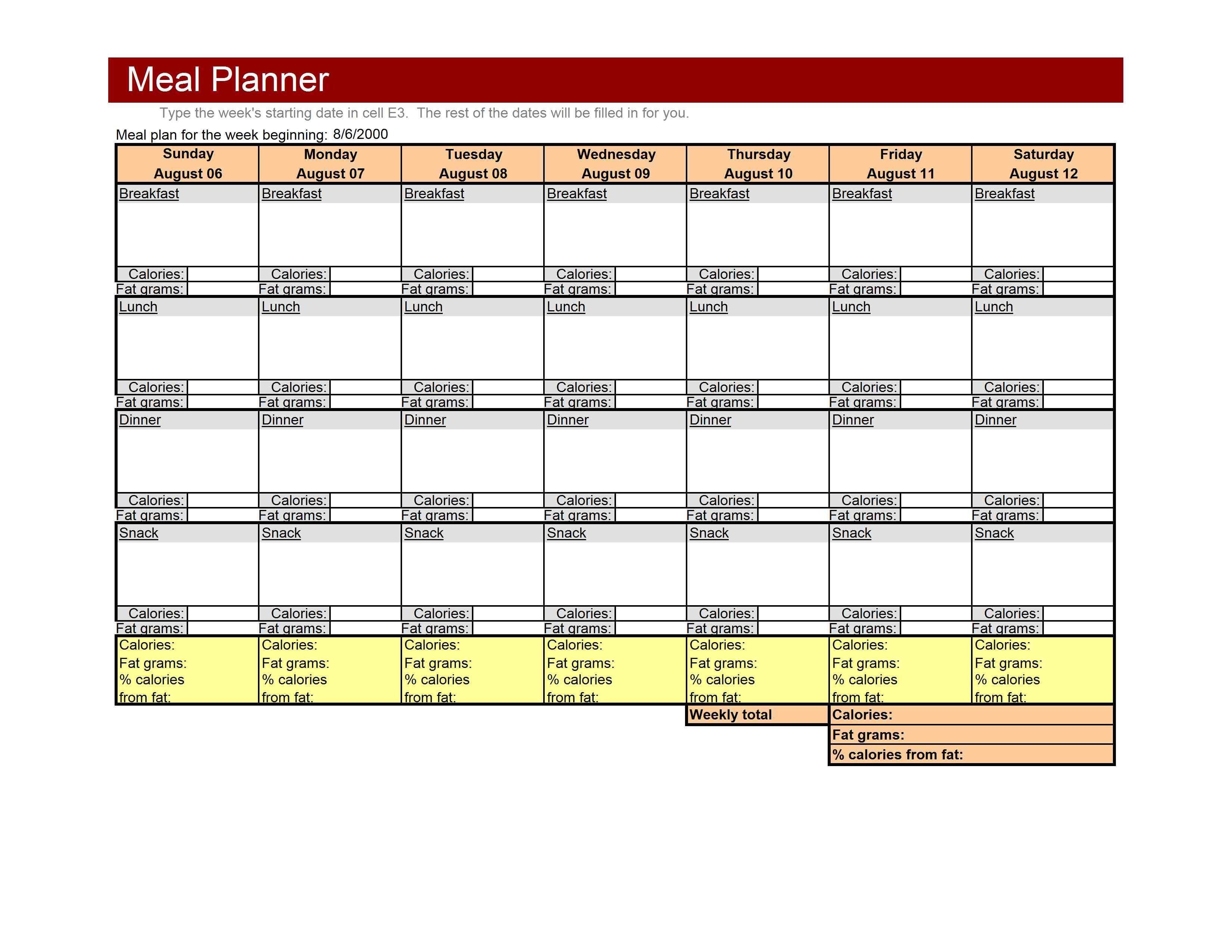 Meal Plan Excel Template Weekly Meal Planner Template