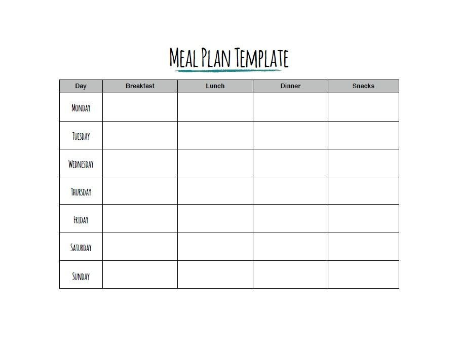 Meal Plan Template Free 40 Weekly Meal Planning Templates Template Lab