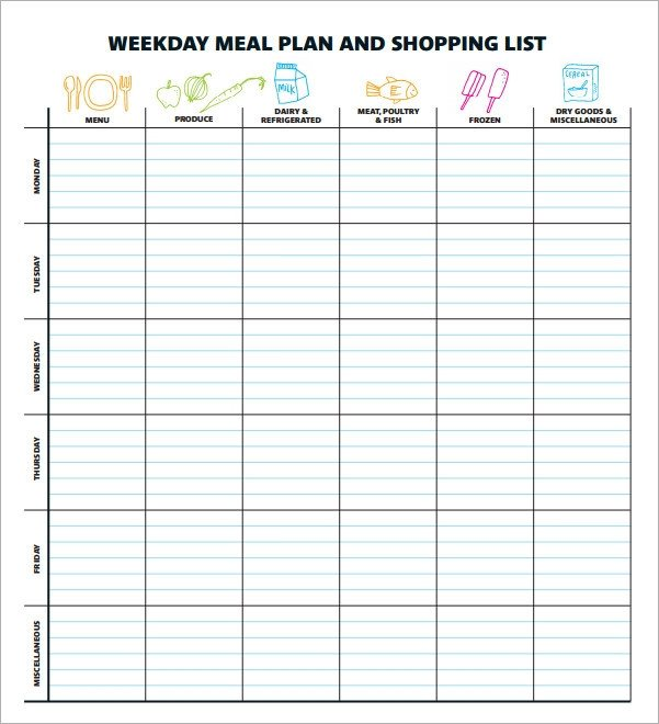 Meal Planning Template Excel 18 Meal Planning Templates Pdf Excel Word