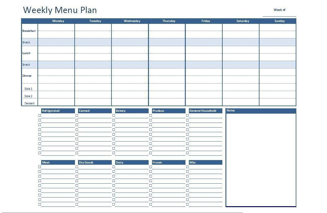 Meal Planning Template Excel Free Excel Weekly Menu Plan Template Dowload