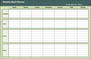 Meal Planning Template Excel Meal Planner