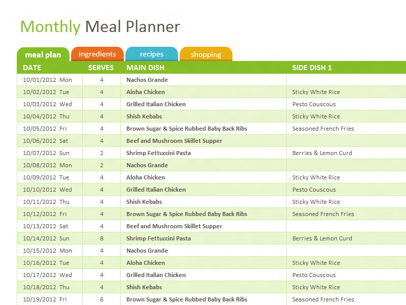 Meal Planning Template Excel Monthly Family Meal Planner Template for Excel
