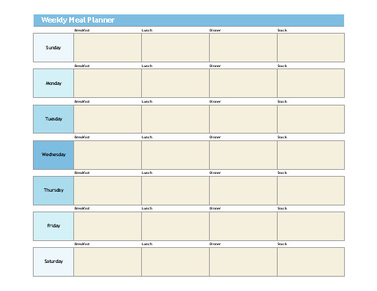 Meal Planning Template Excel Simple Meal Planner
