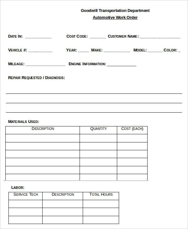 Mechanic Work order Template 29 order Templates In Word