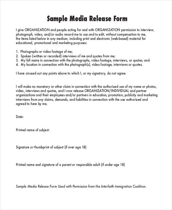 Media Release form Template Sample Media Release form 10 Free Documents In Pdf