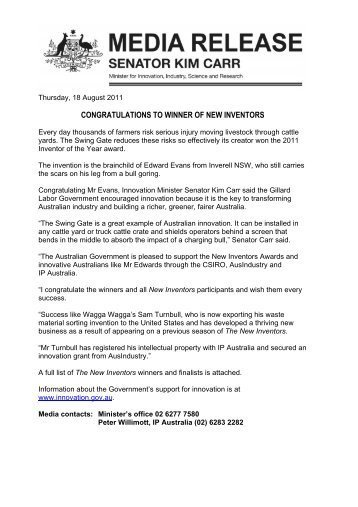 Media Release forms Template Media Release Template Minister Carr National