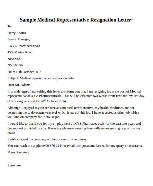 Medical assistant Resignation Letter 30 Resignation Letter formats & Templates Pdf Doc