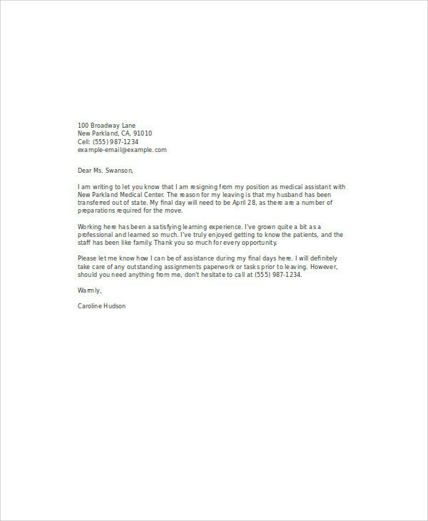 Medical assistant Resignation Letter 35 Simple Resignation Letter Samples