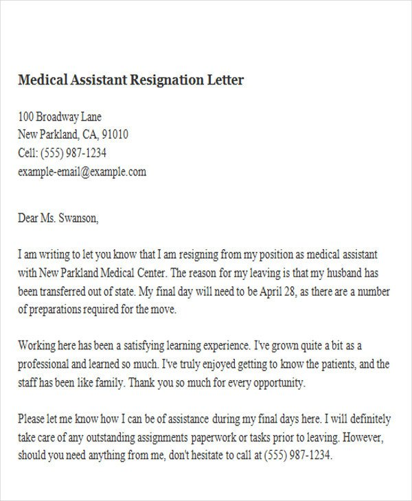 Medical assistant Resignation Letter 65 Sample Resignation Letters