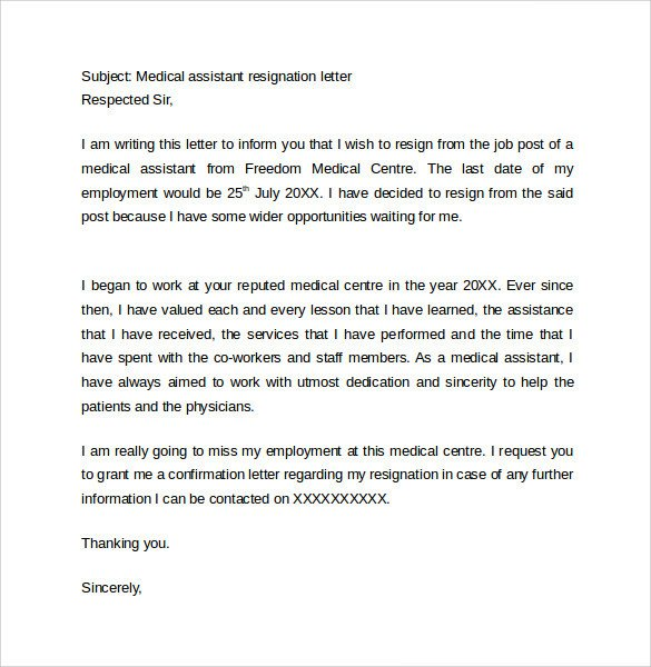 Medical assistant Resignation Letter Sample Resignation Letter format 14 Download Free