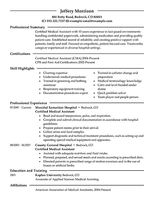 Medical assistant Resume Templates Best Medical assistant Resume Example